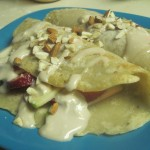 Strawberry Apple Crepes with Maple Cream Cheese Icing